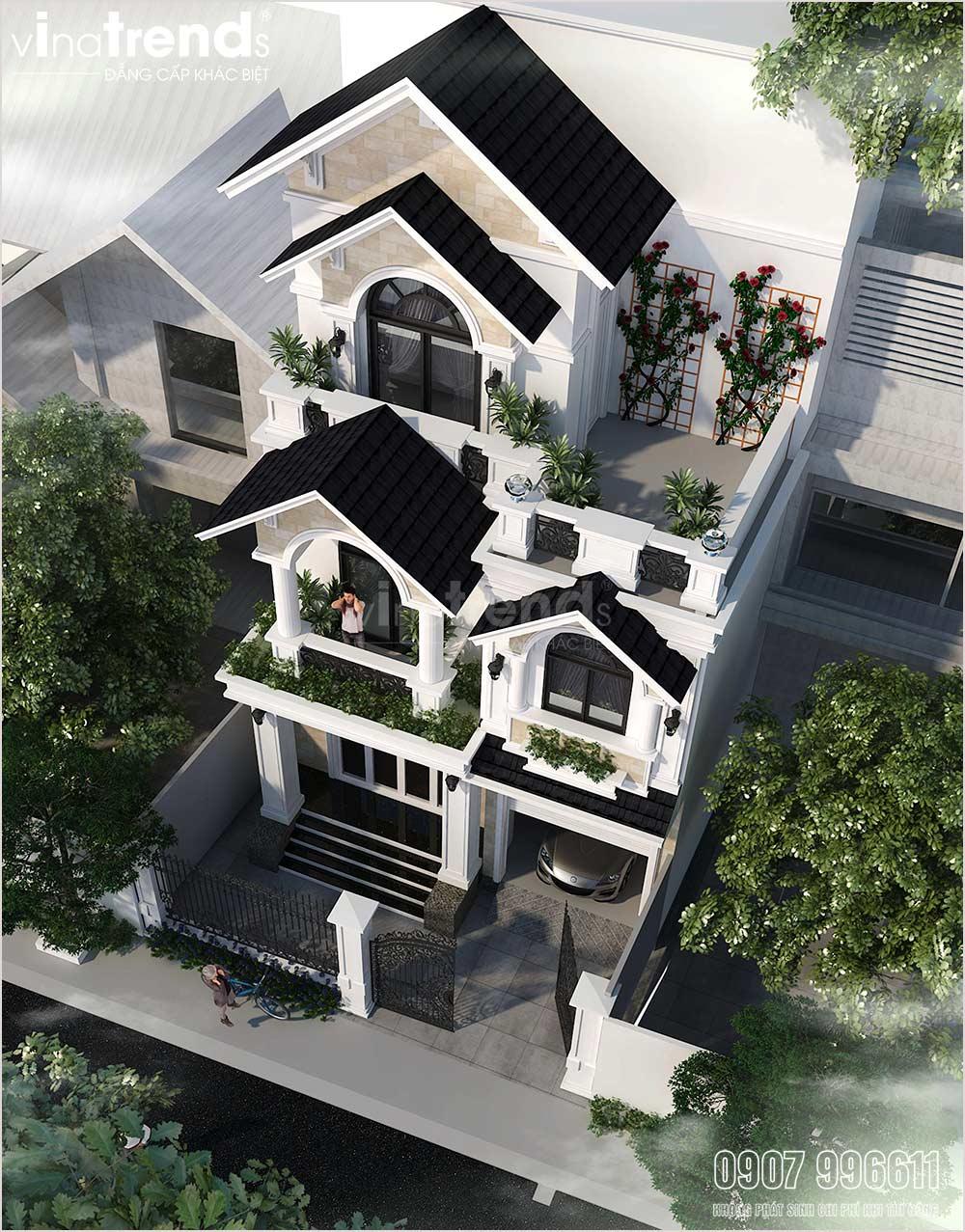 mau nha biet thu 3 tang mai thai tan co dien mat tien 7m dep 2 Mẫu biệt thự 3 tầng mái thái tân cổ điển 7mx15m đẹp nhất nhì khu dân cư chợ Tân Phong Biên Hòa