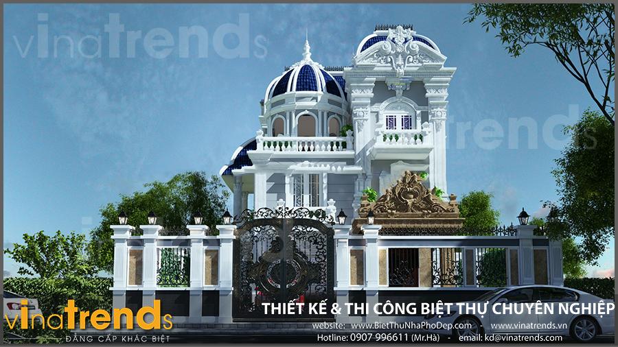 biet thu 2 tang co dien dep mat tien 9m ngang 18m vinatrends Những mẫu biệt thự 3 tầng đẹp năm 2017 được chủ nhà rót tiền tỷ hưởng thụ