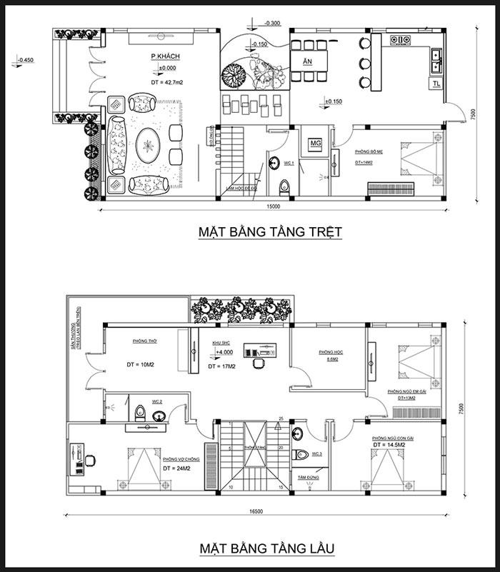 mat bang biet thu 2 tang hien dai 75m ngang 15m 50 khong gian xanh chi hy o dak lak Chốt mẫu nhà đẹp 2 tầng mặt tiền 7,5x15m hơn 50% không gian xanh ở Dak Lak
