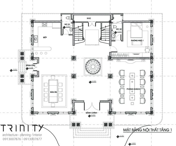 mat bang thiet ke biet thu 2 tang 1 Mẫu biệt thự 2 tầng  mái thái 17x15m đáng nghỉ dưỡng ở Yên Bái chinh phục anh Thịnh hoàn toàn