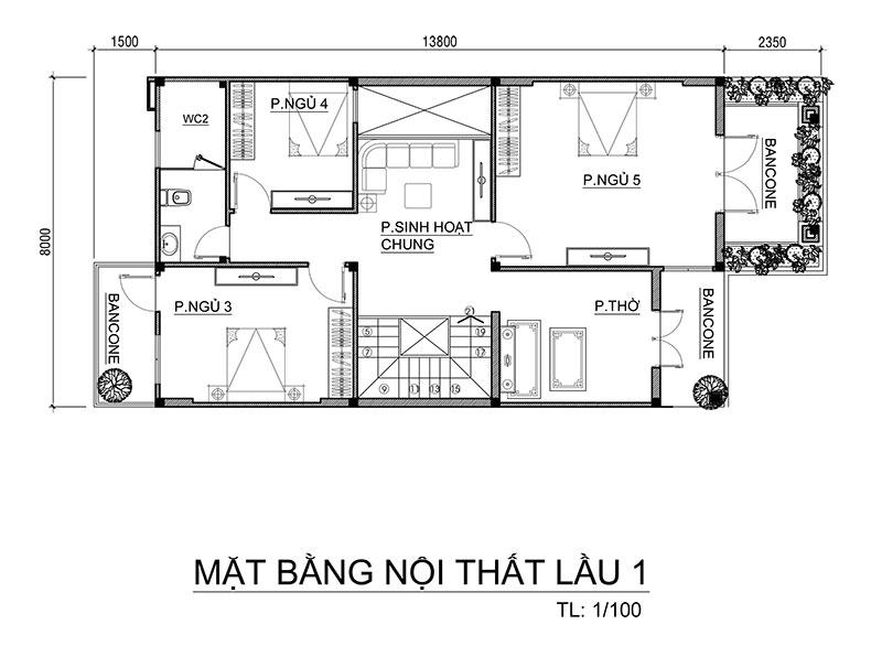 mat bang tang 1 nha 2 tang mai thai dep Mẫu nhà đẹp 2 tầng mái thái 8x14m 5 phòng ngủ thiết kế hoàn hảo yên lòng anh Thành Thanh Hóa