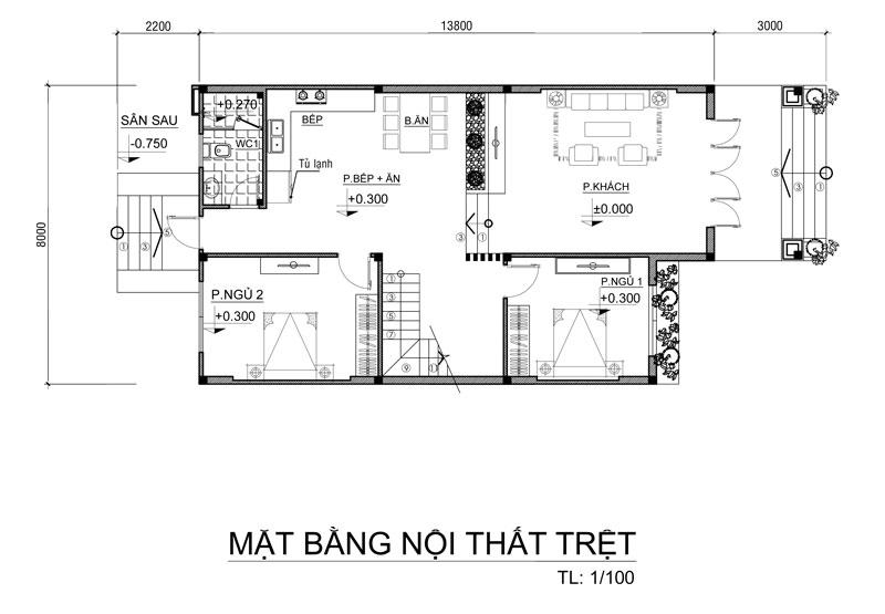 mat bang tang tret nha 2 tang mai thai dep Mẫu nhà đẹp 2 tầng mái thái 8x14m 5 phòng ngủ thiết kế hoàn hảo yên lòng anh Thành Thanh Hóa