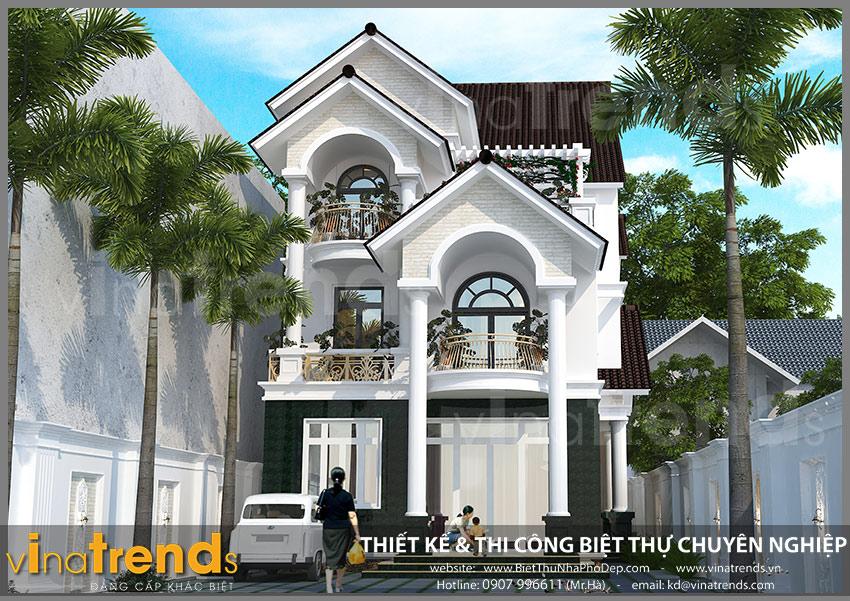 mau biet thu dep 3 tang co dien phap Biệt thự 3 tầng tân cổ điển 180m2 đẹp đẳng cấp của chủ đầu tư tỉ mỉ từng cen ti met