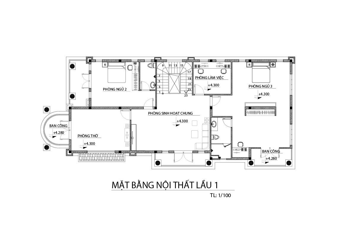 biet thu 3 tang mat bang tang lau 1 Mẫu biệt thự đẹp 3 tầng 9x20m có sân vườn lấy lòng chủ nhà ở Bình Dương như thế nào?