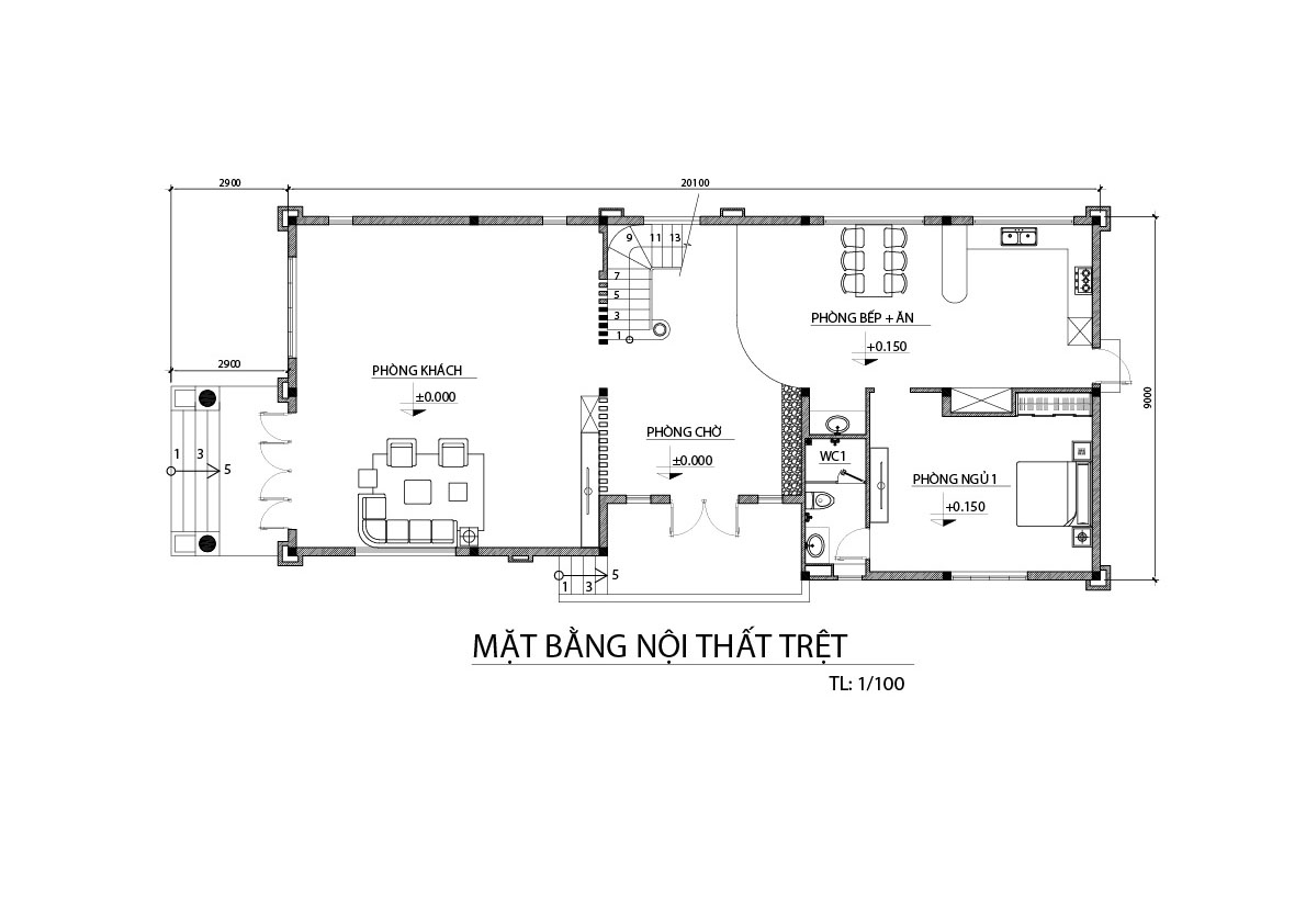 biet thu 3 tang mat bang tang tret Mẫu biệt thự đẹp 3 tầng 9x20m có sân vườn lấy lòng chủ nhà ở Bình Dương như thế nào?