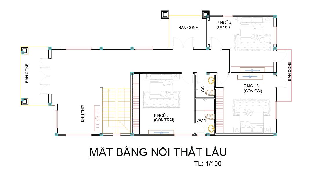 mat bang biet thu 2 tang mini nha a nup 1 Mẫu biệt thự 2 tầng mái thái chữ L đơn giản nhưng thoáng và gọn như dân miền Tây