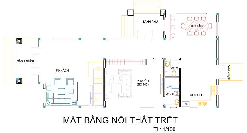mat bang biet thu 2 tang mini nha a nup 2 Mẫu biệt thự 2 tầng mái thái chữ L đơn giản nhưng thoáng và gọn như dân miền Tây