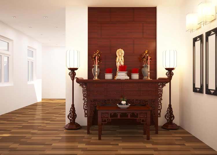 thiet ke phong tho ong ba Mẫu nhà chữ L 2 tầng mái thái 270m2 chuẩn cung Phước Đức nhà chị Hạnh ở Bình Phước