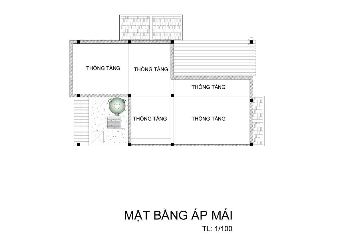 mat bang biet thu 3 tang mai thai co dien 2 e1500288889921 Mẫu biệt thự 3 tầng mái thái 7x12m có sân trước tuyệt đẹp như chính chị Hiếu ở Hà Nội