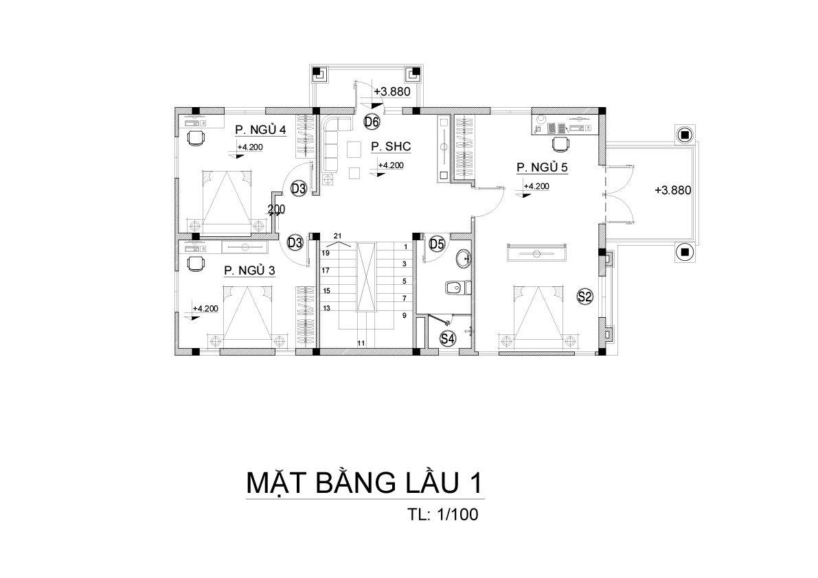 mat bang biet thu 3 tang mai thai co dien 3 e1500288768938 Mẫu biệt thự 3 tầng mái thái 7x12m có sân trước tuyệt đẹp như chính chị Hiếu ở Hà Nội