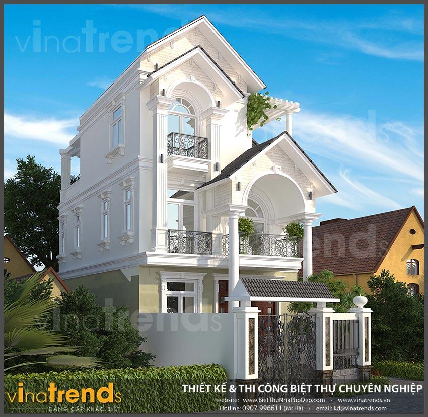 mat bang biet thu 3 tang mai thai co dien 5 Mẫu biệt thự 3 tầng mái thái 7x12m có sân trước tuyệt đẹp như chính chị Hiếu ở Hà Nội