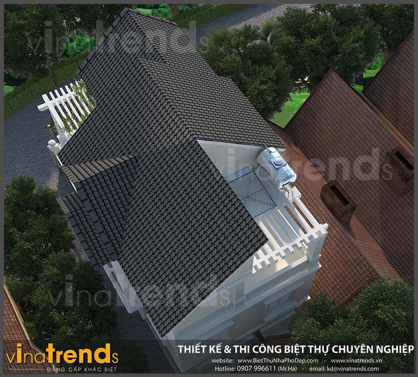 mat bang biet thu 3 tang mai thai co dien 8 Mẫu biệt thự 3 tầng mái thái 7x12m có sân trước tuyệt đẹp như chính chị Hiếu ở Hà Nội