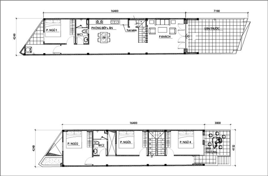 mat bang nha 2 tang mat tien 42m Mẫu nhà 2 tầng mặt tiền 4,2mx24m giải quyết 3 nổi lòng thầm kín cho chủ nhà