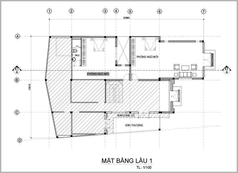mat bang tang 1 mau biet thu mini 2 tang chu l Mẫu biệt thự mini 2 tầng chữ L 350m2 vượt mong đợi cho gia đình anh Hoàn   Biên Hòa
