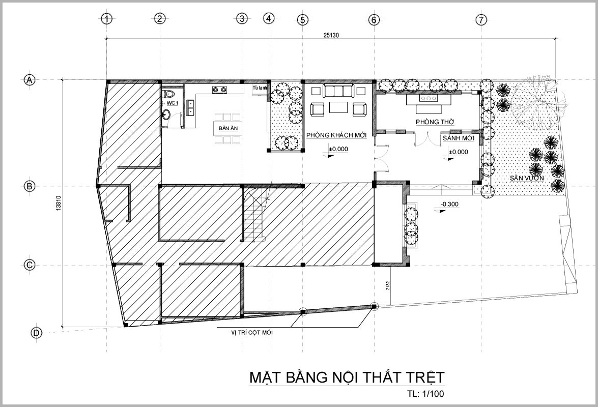 mat bang tang tret mau biet thu mini 2 tang chu l Mẫu biệt thự mini 2 tầng chữ L 350m2 vượt mong đợi cho gia đình anh Hoàn   Biên Hòa