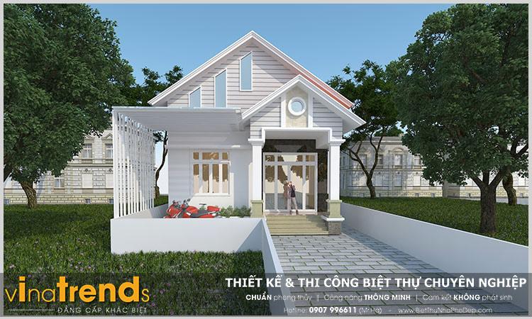 nha biet thu dep 1 tret mai thai kieu nong thon 1 Mẫu nhà 1 tầng mái thái 9x17,5m mang cuộc sống XANH cho gia đình trung lưu ở Biên Hòa