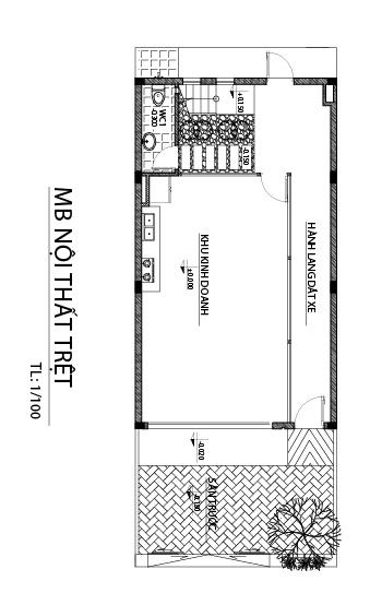 tret Mẫu nhà 3 tầng hiện đại 6,6x17m dùng thủ pháp tối ưu vừa ở vừa kinh doanh ở Biên Hòa
