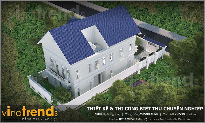 mau biet thu san vuon 2 tang mau trang mai thai xanh dep 1 Mẫu biệt thự 2 tầng mái ngói thái 128m2 đáng ngưỡng mộ: Đầu tư vừa phải   hưởng thụ tối đa