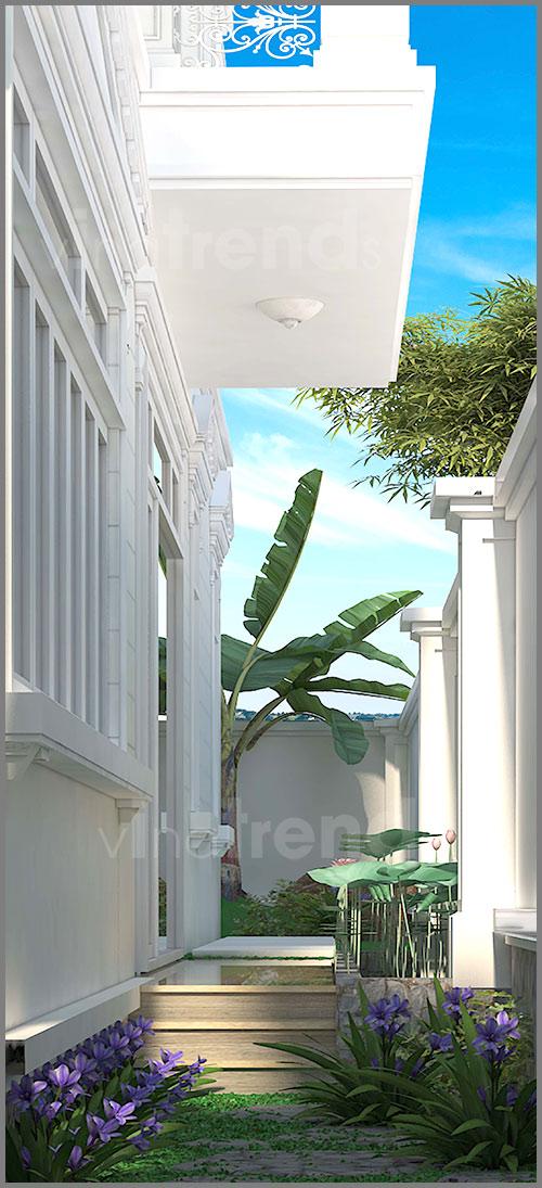 mau biet thu san vuon 2 tang mau trang mai thai xanh dep 2 Mẫu biệt thự 2 tầng mái ngói thái 128m2 đáng ngưỡng mộ: Đầu tư vừa phải   hưởng thụ tối đa