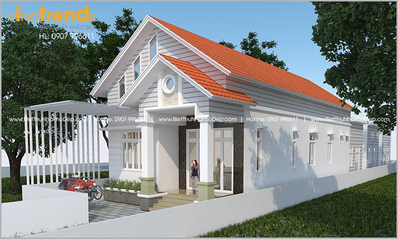 biet thu 1 tang mai thai cho nguoi hoa o bien hoa 4 Mẫu nhà 1 tầng 126m2 chi tiết thiết kế dể tích góp xây nhà ở Biên Hòa