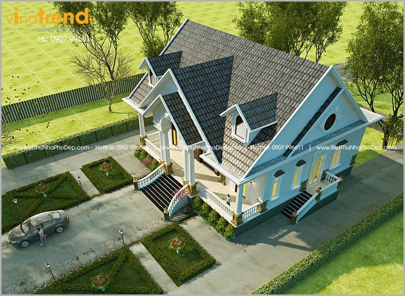 biet thu tret mai thai 3 phong ngu dep nhat do vinatrends thiet ke 1 Mẫu nhà 1 tầng 126m2 chi tiết thiết kế dể tích góp xây nhà ở Biên Hòa