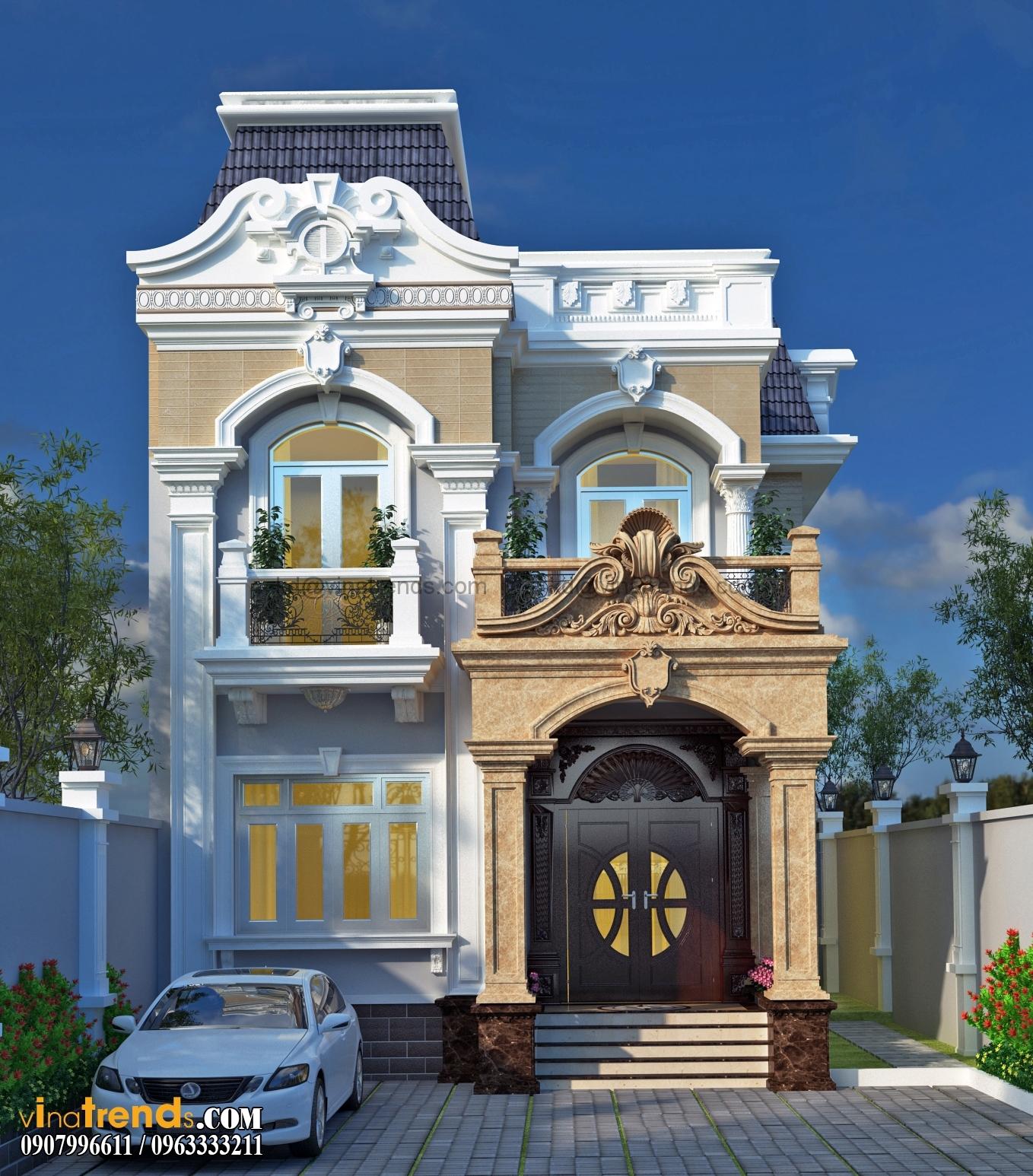 biet thu co dien 3 tang 4 Mẫu biệt thự 2 tầng 7x19m tân cổ điển đẹp nhất con hẻm đường Phạm Văn Đồng ở Hồ Chí Minh
