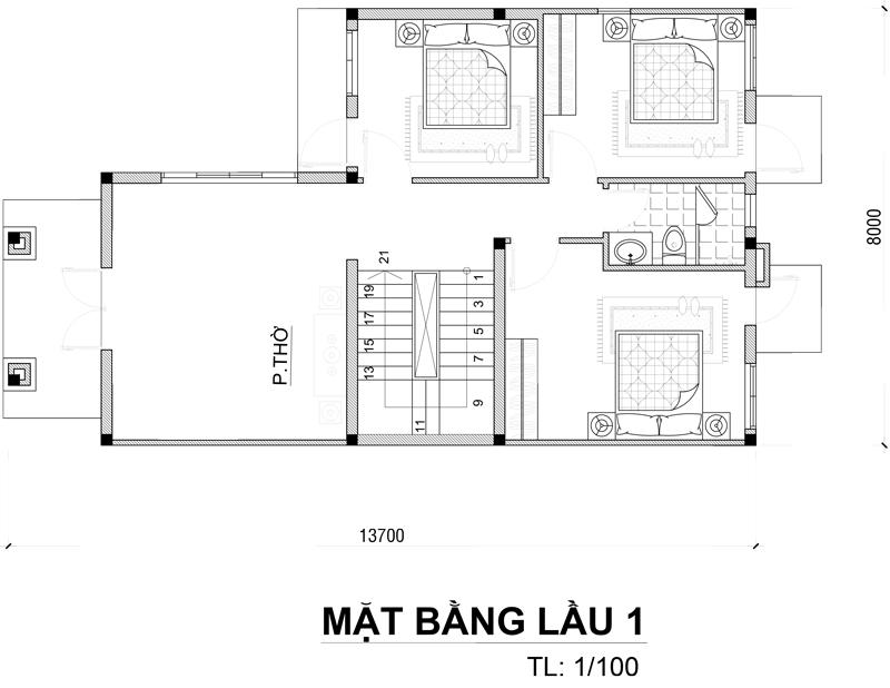 mat bang tang 1 biet thu 2 tang don gian Mẫu biệt thự 2 tầng đơn giản chữ l mái thái 100m2 ở Bảo Lộc dể dàng sở hữu