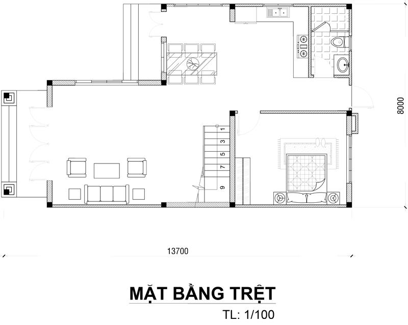 mat bang tang tret biet thu 2 tang dep Mẫu biệt thự 2 tầng đơn giản chữ l mái thái 100m2 ở Bảo Lộc dể dàng sở hữu