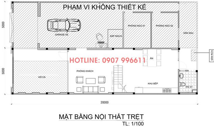 mat bang tang tret nha 2 tang co gara o to Mẫu biệt thự 2 tầng đẹp Biên Hòa 200m2 có gara ô tô trong nhà và hồ cá hỏa tiễn