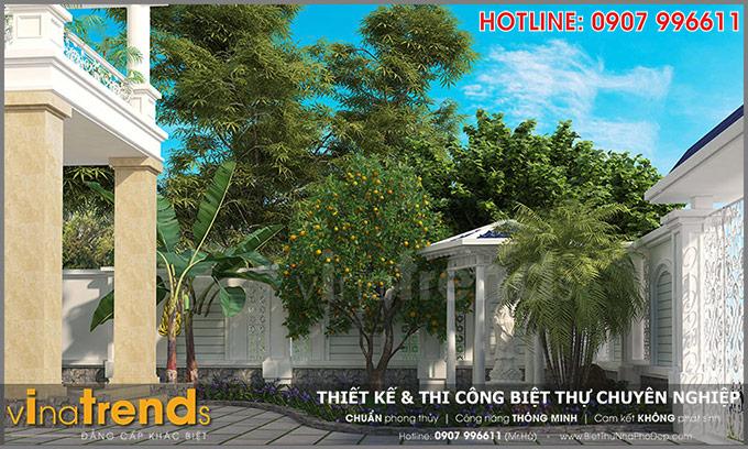 mau biet thu dep 2 tang san vuon mau trang tan co dien mai thai 128m2 o vung tau 2 TOP 1 những mẫu biệt thự mái thái NỔI TIẾNG nhất Việt Nam