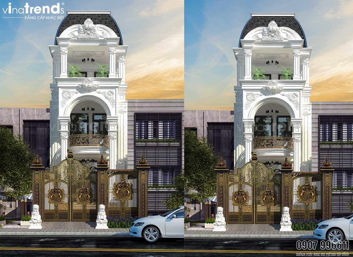 mau nha ong 3 tang tan co dien dep Bản vẽ mẫu thiết kế nhà ống mặt tiền 4m x17m cổ điển tráng lệ ở Quận 3