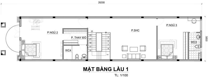 thiet ke mat bang biet thu co dien o bien hoa 6 Mẫu biệt thự cổ điển 3 tầng 150m2 ở Biên Hòa nhà anh Tại mê ngay 3D phối cảnh kiến trúc