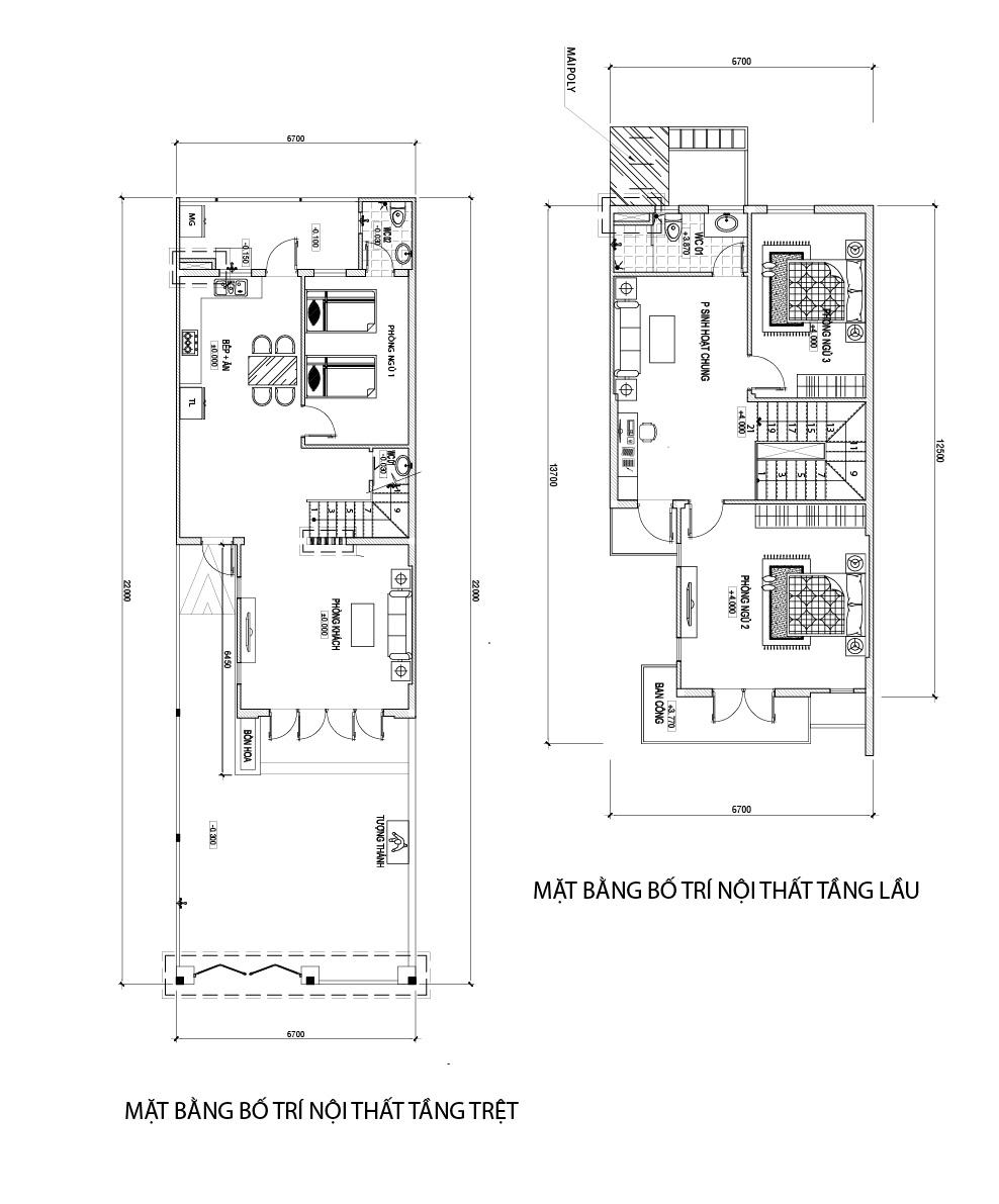 mat bang mau nha 2 tang dep o bien hoa Mẫu nhà 2 tầng 84m2 ở Biên Hòa phá cách mái lệch cho vợ chồng trẻ làm ngân hàng