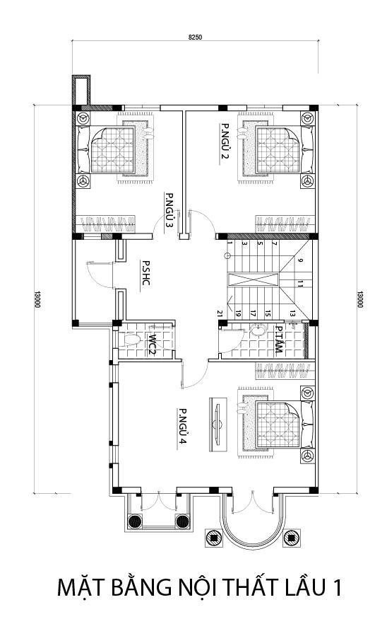 mat bang tang 1 biet thu dep o bien hoa Mẫu biệt thự 3 tầng mái thái 104m2 ở Biên Hòa gây dấu ấn công ty thiết kế nhà đẹp hàng đầu Đồng Nai