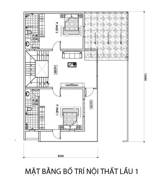 mat bang tang 1 nha 3 tang hien dai co gara oto o dien bien phu Mẫu nhà phố 4 tầng đẹp hiện đại 180m2 được Lăng Xê ở tỉnh Điện Biên