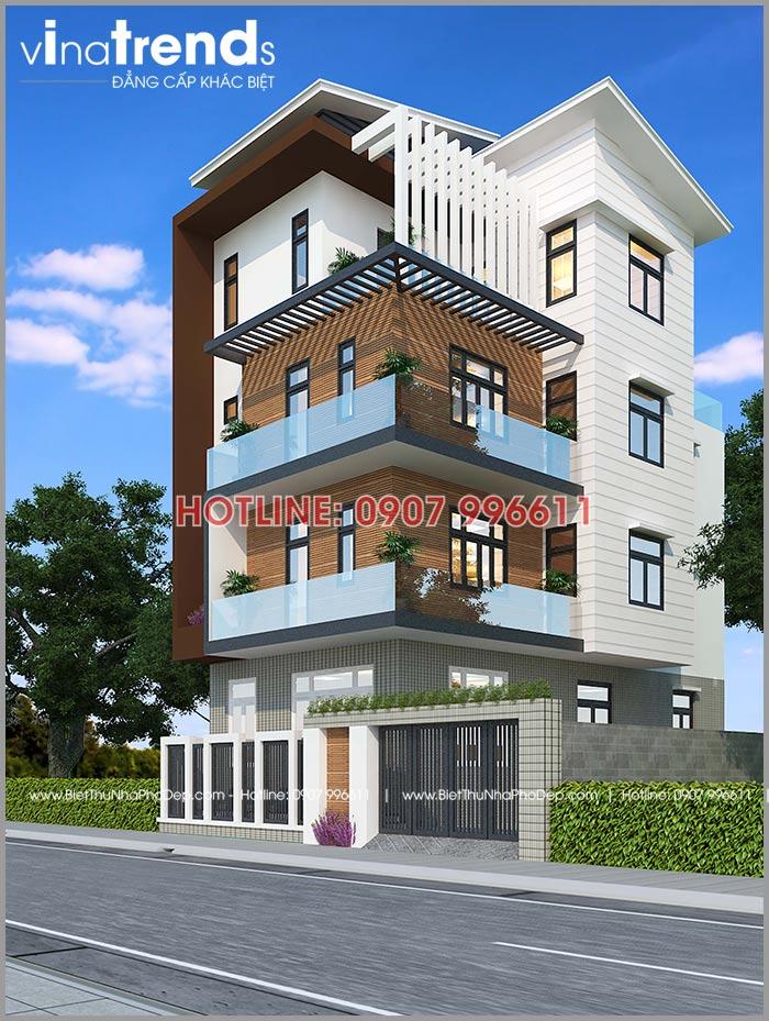 mau nha 4 tang co gara oto 180m2 o dien bien do vinatrends thiet ke 2 Mẫu nhà phố 4 tầng đẹp hiện đại 180m2 được Lăng Xê ở tỉnh Điện Biên