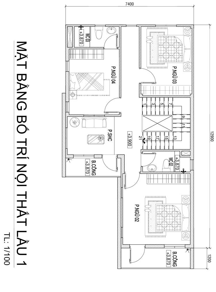 mb biet thu 3 tang 104m2 tang 1 Mẫu nhà đẹp 3 tầng chữ L 104m2 hiện đại Đơn Giản Ngoài   Ấn Tượng Trong ở Biên Hòa