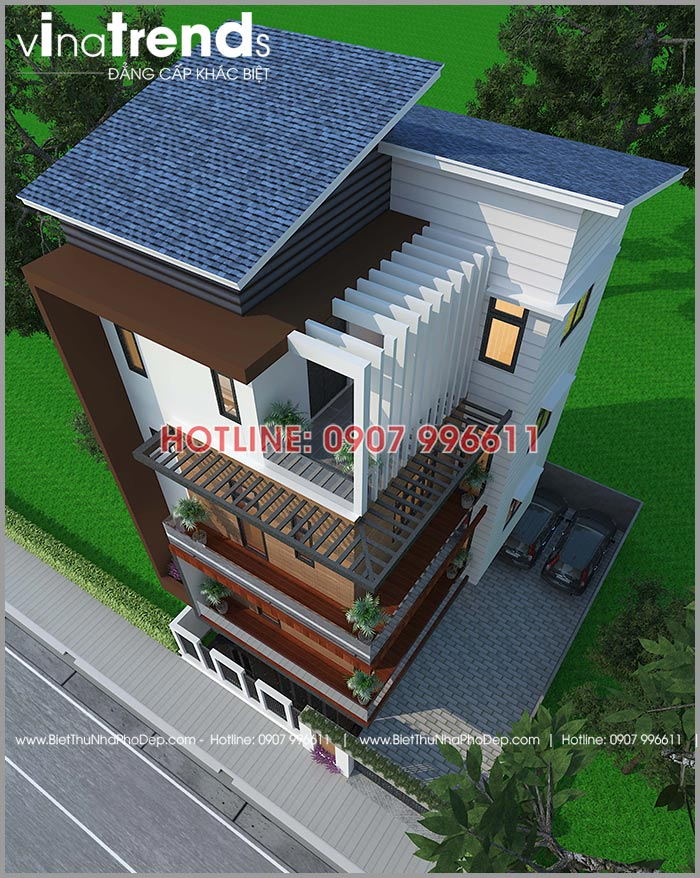biet thu hien dai 4 tang 118m2 lua gio vao nha o dien bien 4 50+ Các mẫu nhà biệt thự hiện đại mái ngói   mái bê tông 2 3 4 5 tầng đáng xây ngay năm nay