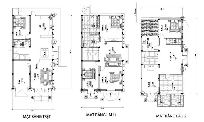 mat bang biet thu 3 tang co dien o bien hoa Mẫu biệt thự cổ điển 3 tầng 6 phòng ngủ ở Biên Hòa chuẩn bị cho năm sau thi công
