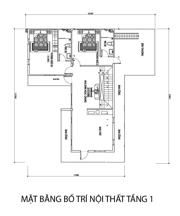 mat bang tang 1 biet thu 2 tang hien dai.jpg Mẫu nhà 2 tầng 150m2 hiện đại có hồ bơi 3 phòng ngủ Là Lạ nhưng nhìn là muốn xây
