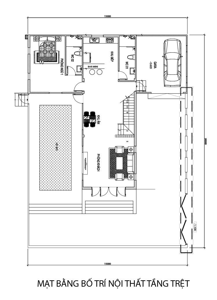 mat bang tang tret biet thu 2 tang hien dai Mẫu nhà 2 tầng 15x20m hiện đại có hồ bơi 3 phòng ngủ kiểu Tây nhưng nhìn là muốn xây