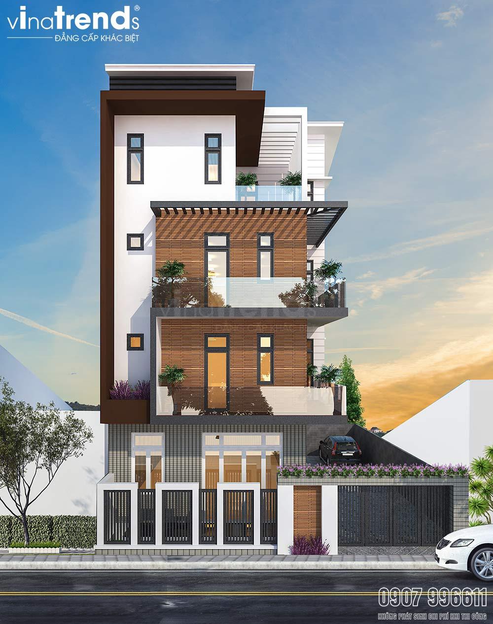 mau nha 4 tang hien dai dep co san de o to Thiết kế biệt thự 3 tầng hiện đại đẹp 10x20m có hầm ô tô khang trang ở Hà Tĩnh