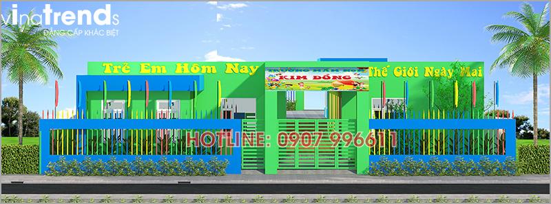 thiet ke truong mam non 1 tang dep Thi công hoàn thiện trường mẫu giáo Kim Đồng 636m2 ở Biên Hòa phủ toàn sắc Xanh