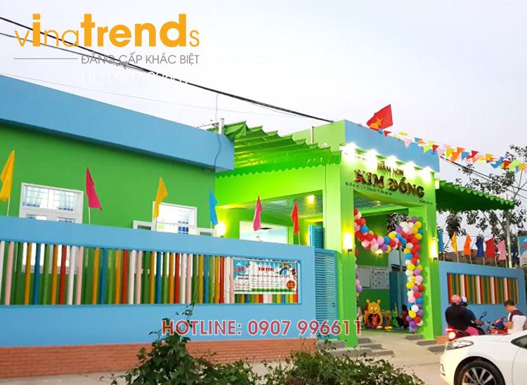 xay truong mam non 1 tang dep o bien hoa 1 1 Mẫu nhà 1 tầng 126m2 chi tiết thiết kế dể tích góp xây nhà ở Biên Hòa