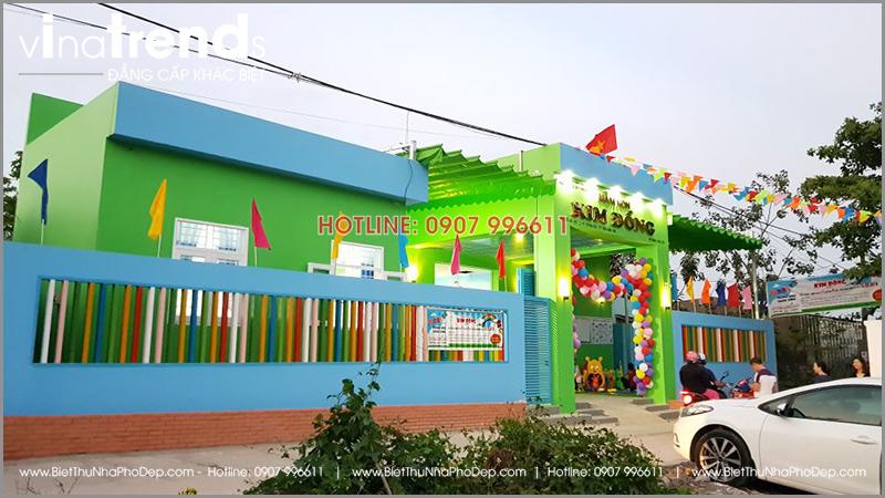 xay truong mam non 1 tang dep o bien hoa 2 1 Thi công hoàn thiện trường mẫu giáo Kim Đồng 636m2 ở Biên Hòa phủ toàn sắc Xanh