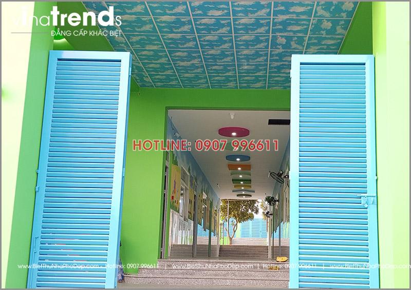 xay truong mam non 1 tang dep o bien hoa 6 1 Thi công hoàn thiện trường mẫu giáo Kim Đồng 636m2 ở Biên Hòa phủ toàn sắc Xanh