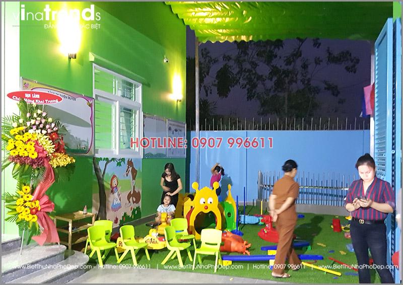 xay truong mam non 1 tang dep o bien hoa 8 1 Thi công hoàn thiện trường mẫu giáo Kim Đồng 636m2 ở Biên Hòa phủ toàn sắc Xanh