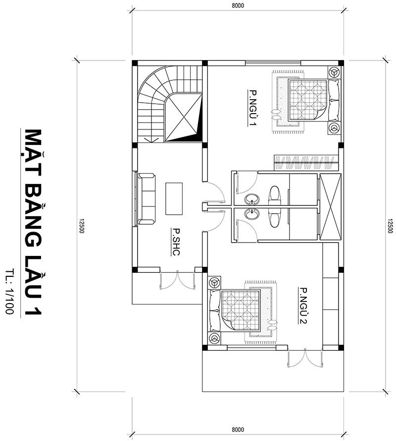 mat bang nha 2 tang 8x12m o bien hoa 1 Mẫu nhà 2 tầng đẹp 96m2 ở Biên Hòa – Niềm ao ước của vợ chồng trẻ 9X