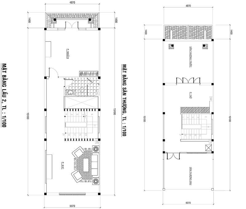 mat bang nha 3 tang 1 Mẫu nhà 3 tầng cổ điển mặt tiền 5x23m được 60% khách hàng HCM lựa chọn