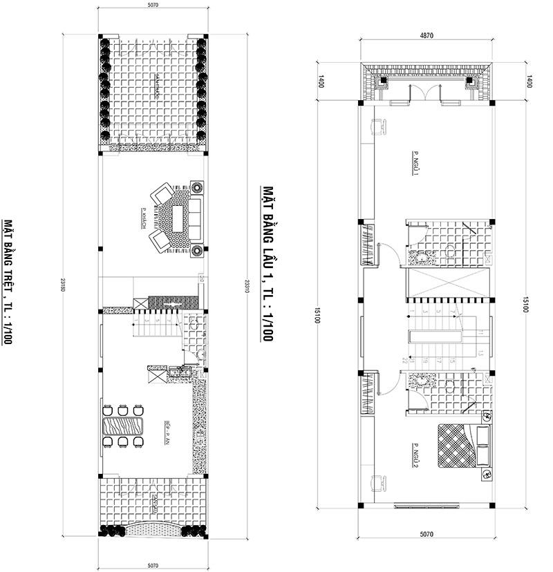 mat bang nha 3 tang 2 Mẫu nhà ống 4 tầng tân cổ điển 5x15m bố trí thông minh của đa số khách Sài Gòn chọn